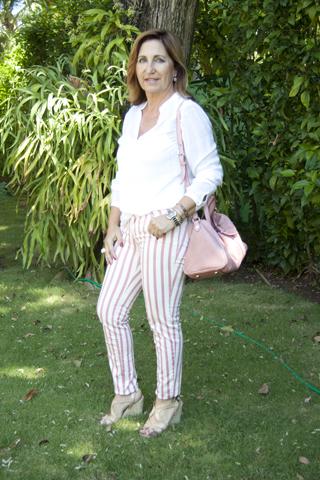 Pantalón a rayas rosa